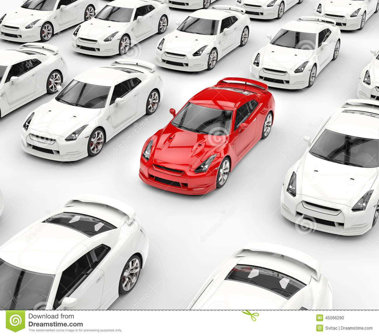 red car stands out among many white cars stock. Black Bedroom Furniture Sets. Home Design Ideas