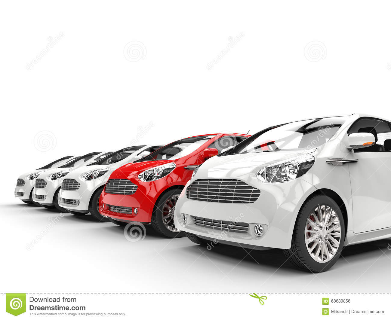 red car stands out in a row of white cars stock photo. Black Bedroom Furniture Sets. Home Design Ideas