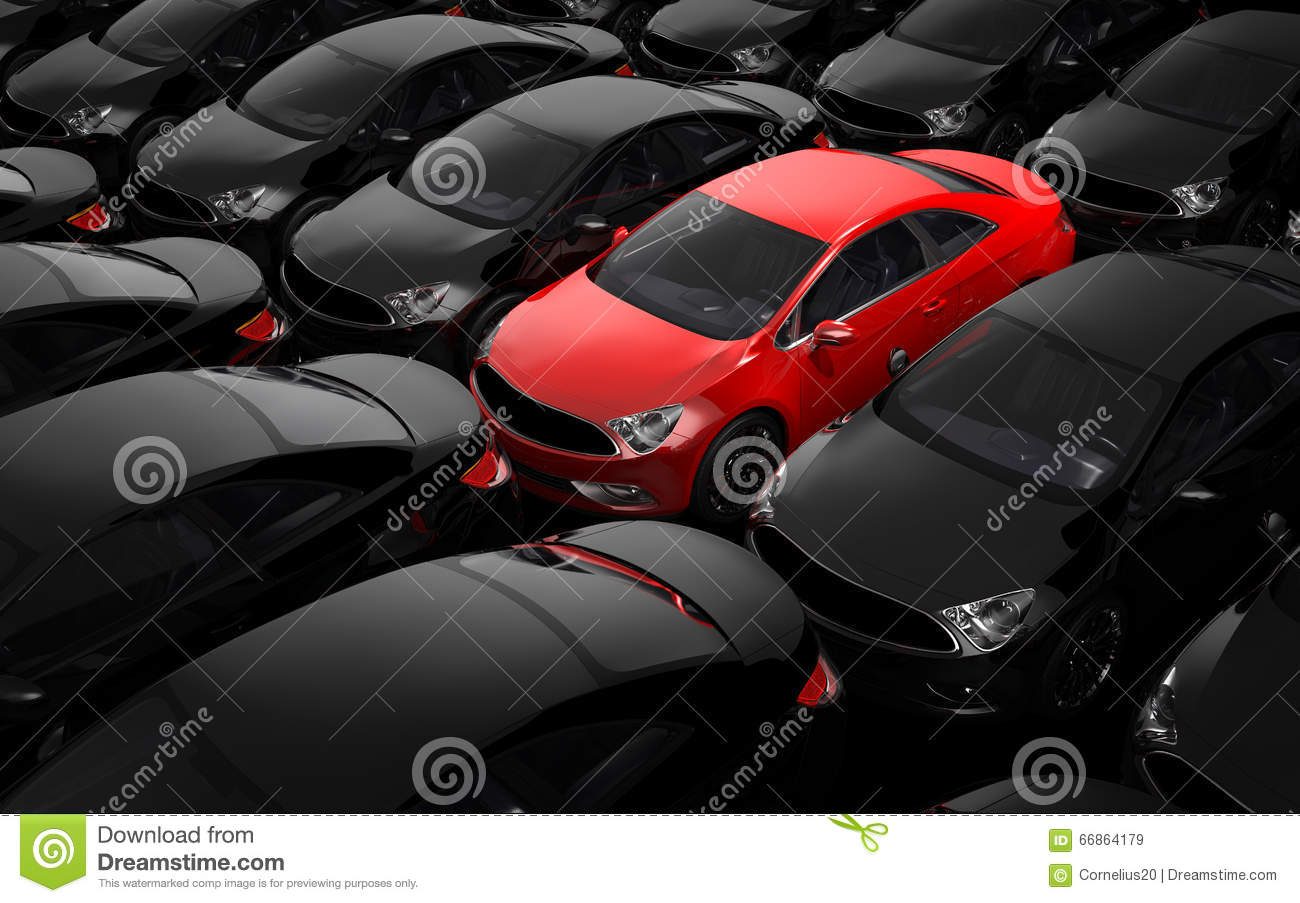 Red car surrounded by black cars
