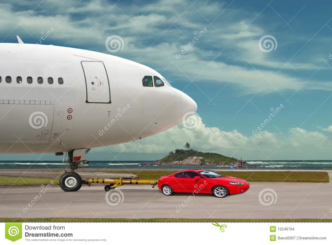 Big Red Towing >> Red Car Is Towing Airplane. Leader. Concept. Stock Photo - Image: 12246794