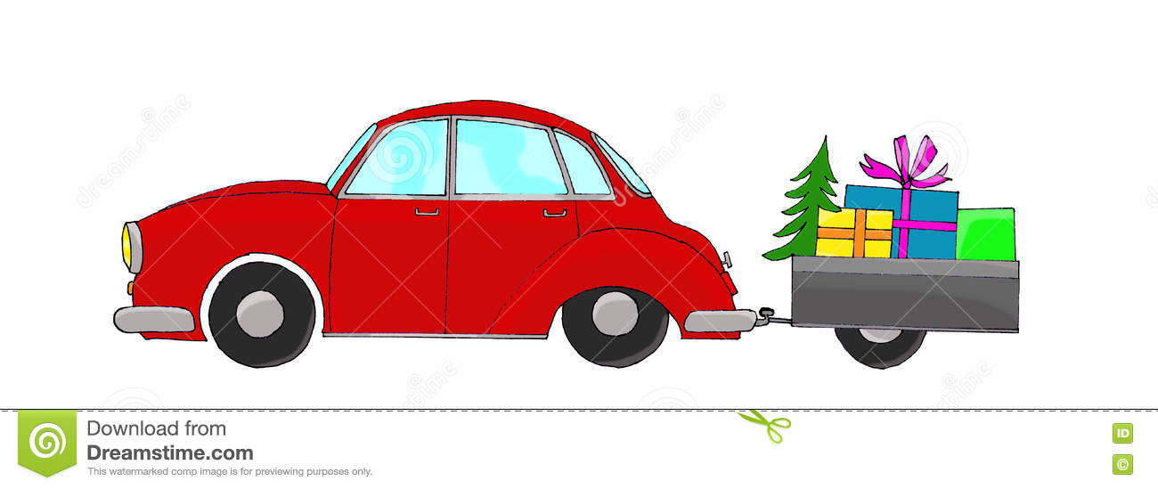 Red car with trailer stock illustration. Illustration of automotive ...