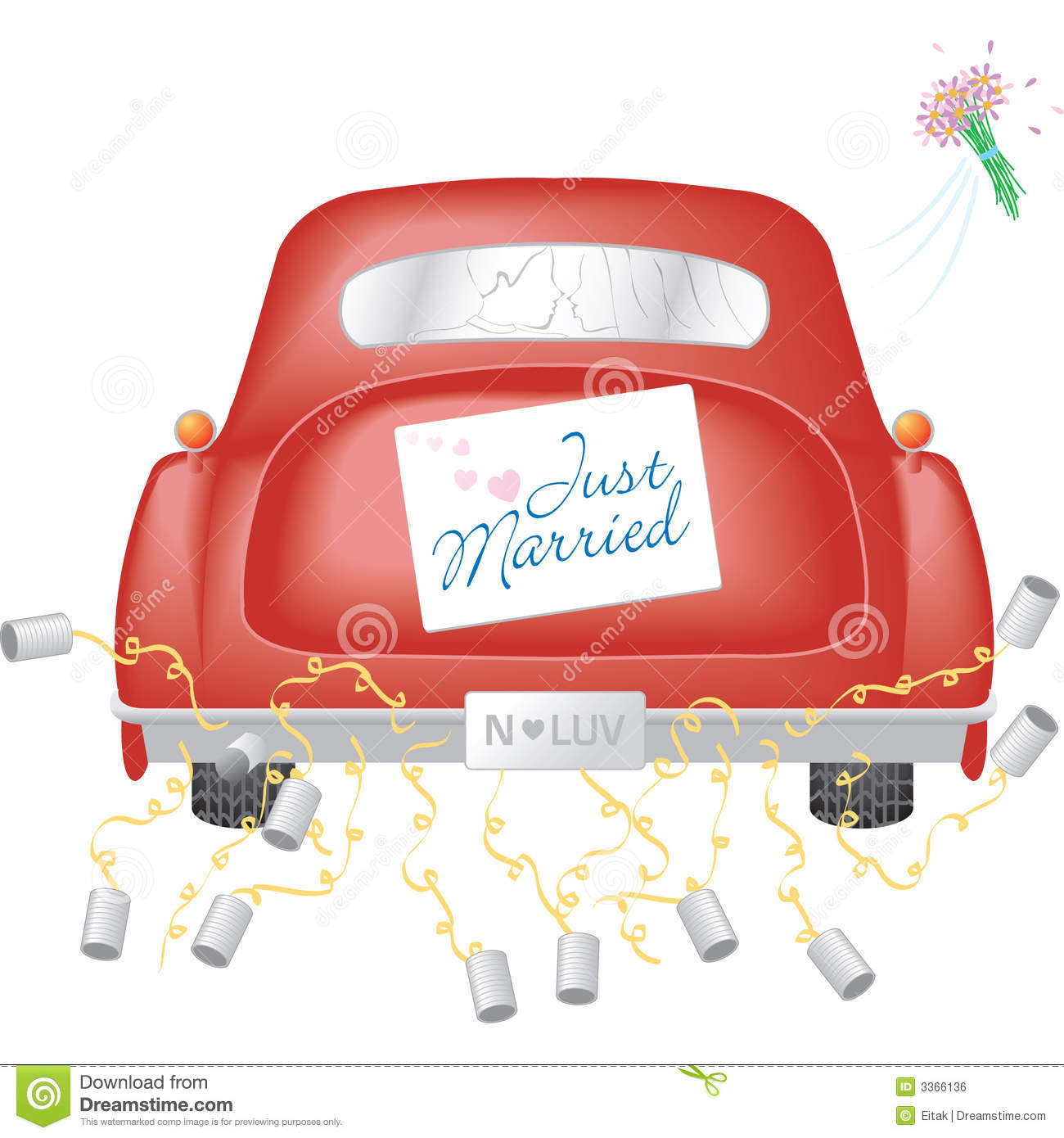 red car w just married sign stock vector  illustration