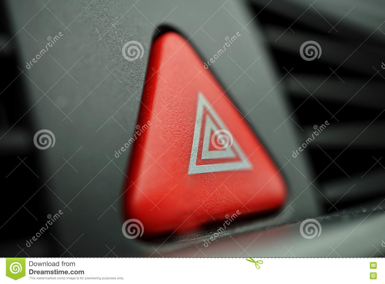 Red car warning button with a white triangle switching all the royalty free stock photo buycottarizona