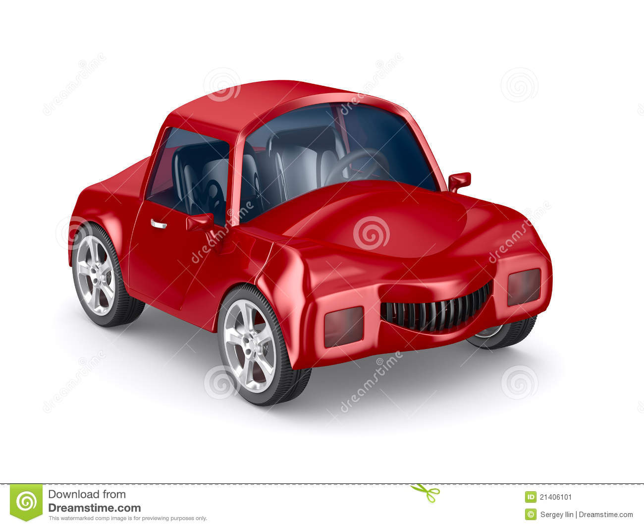 Red Car On White Background Stock Image - Image: 21406101