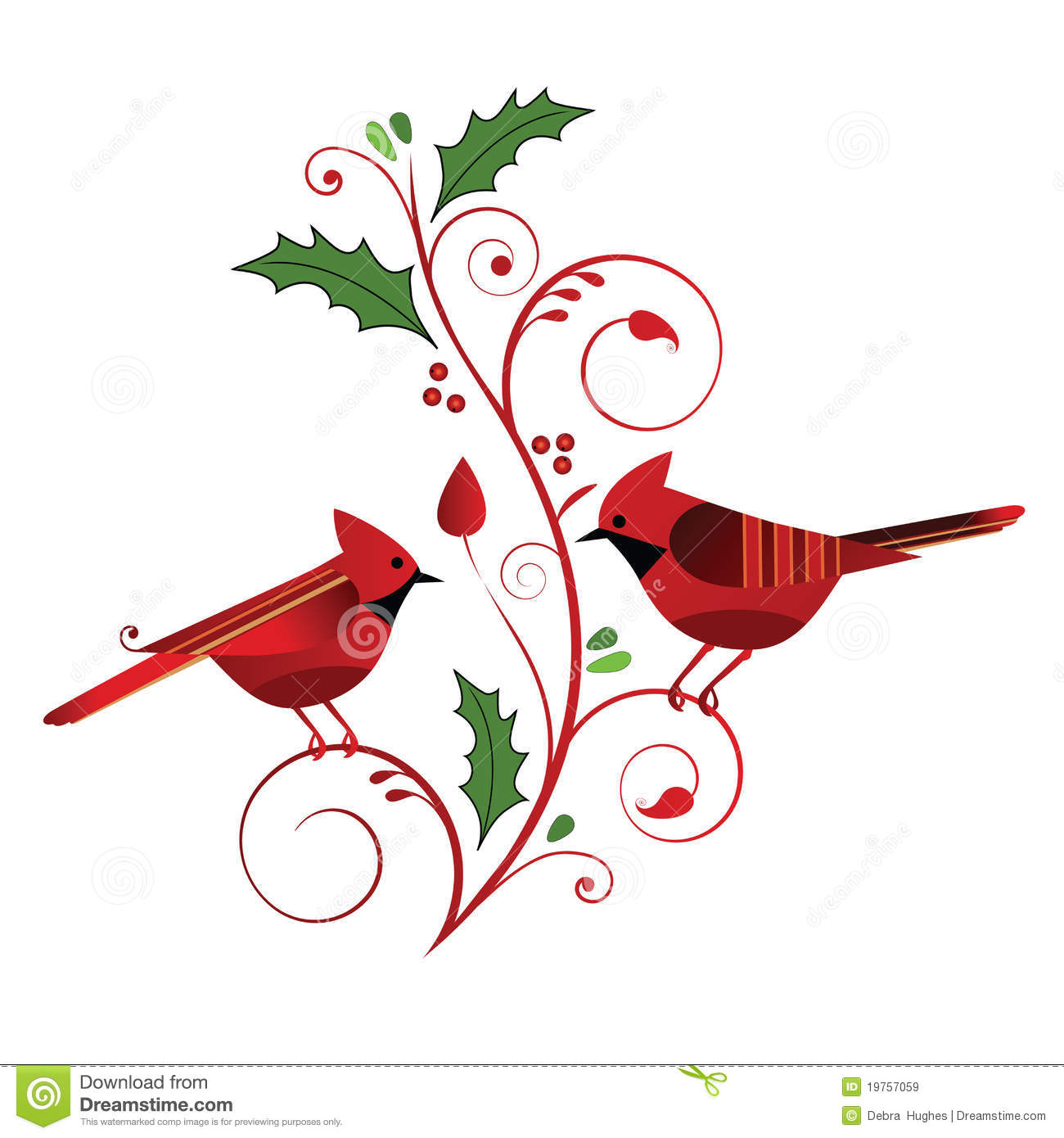 Red Cardinals And Christmas Flourish Royalty Free Stock Images - Image ...