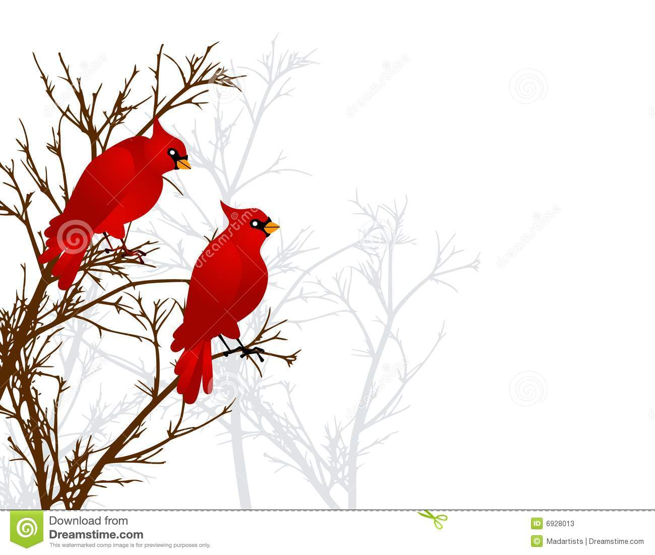 ... illustration of 2 red cardinal birds sitting on a branch in winter