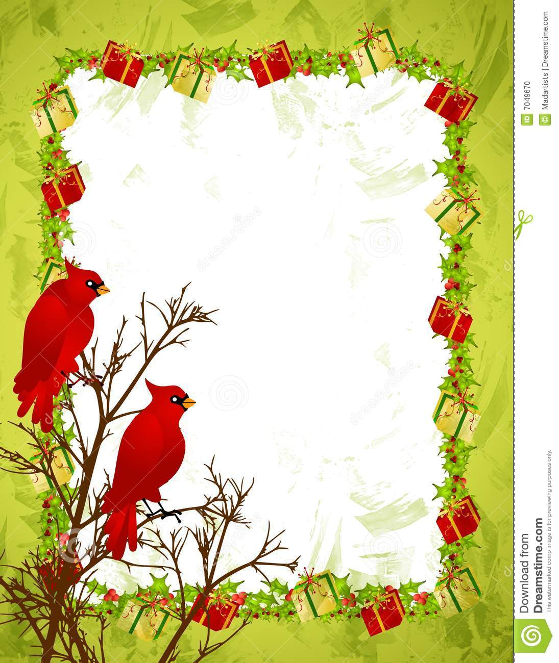 clip art illustration of 2 red cardinal birds sitting on a branch in ...
