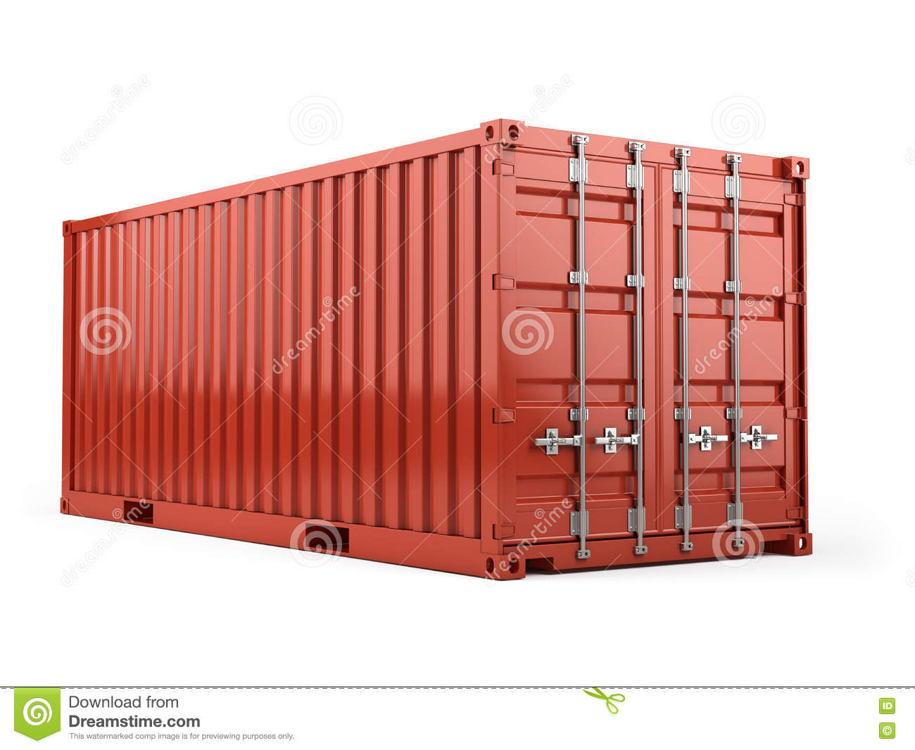 Red Cargo Freight Shipping Container Against A White Background