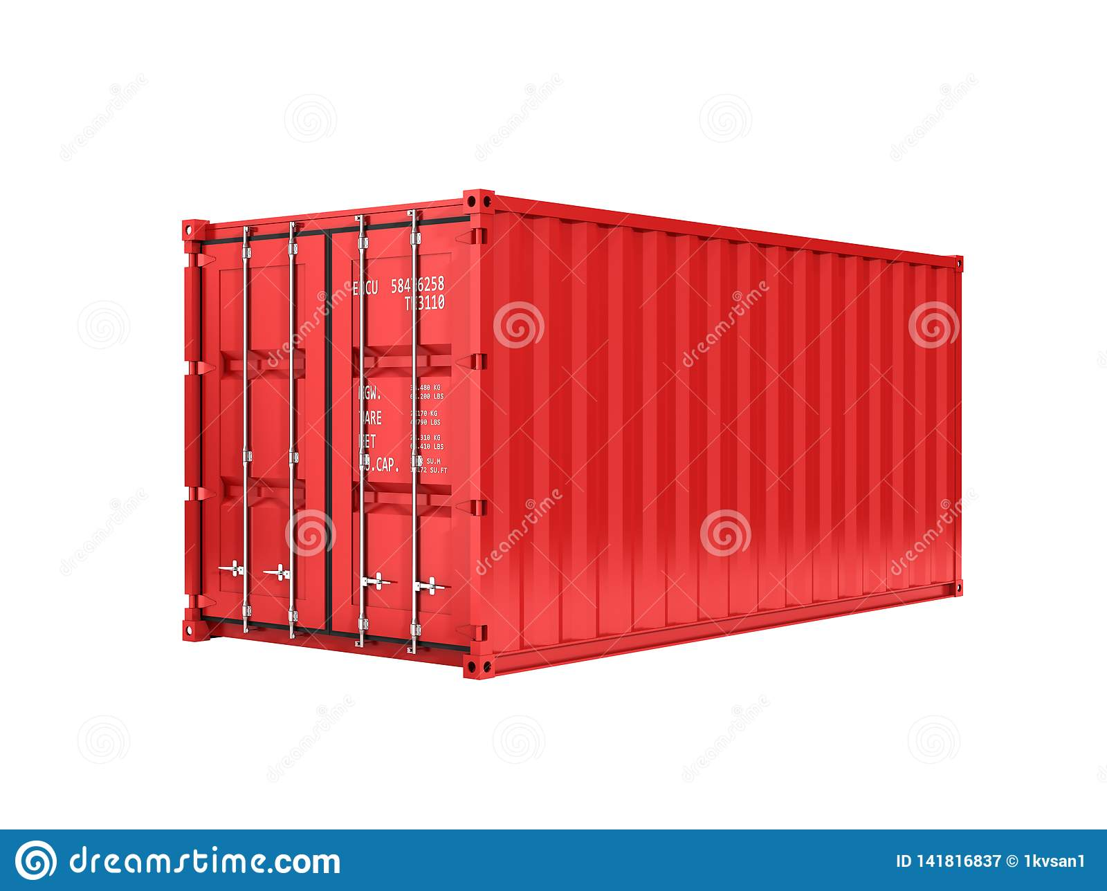 Red cargo shipping container without inscription on white background 3d without shadow