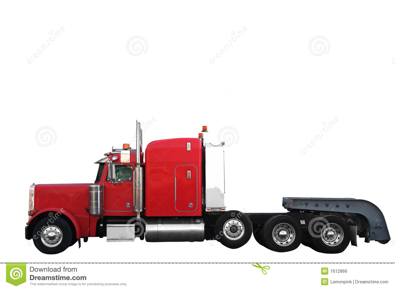 Red Cargo truck isolated over white background with clipping pat