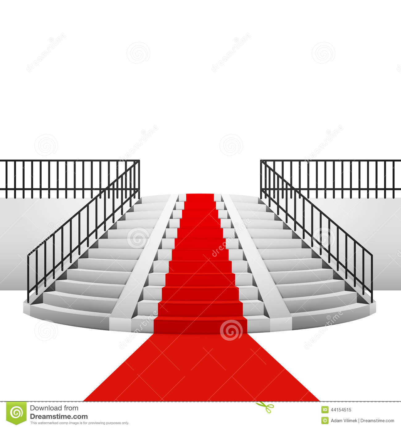 Red Carpet On Circular Staircase White Background Stock
