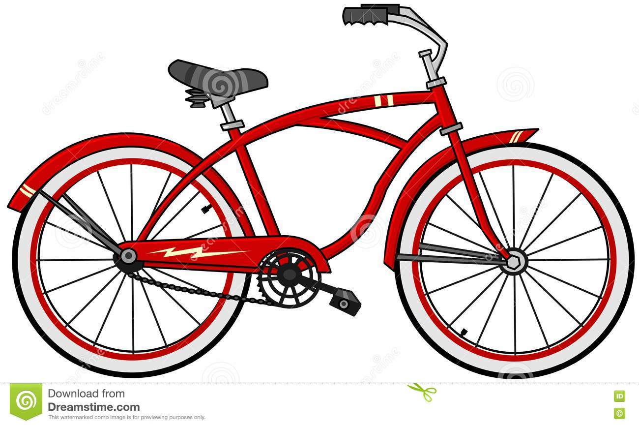 Red cartoon bicycle stock illustration illustration of for Bike tire art