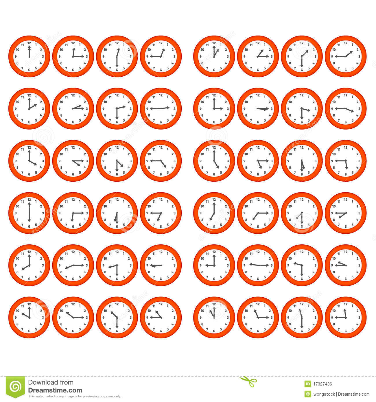 red cartoon clocks showing every 15 minutes past t stock vector