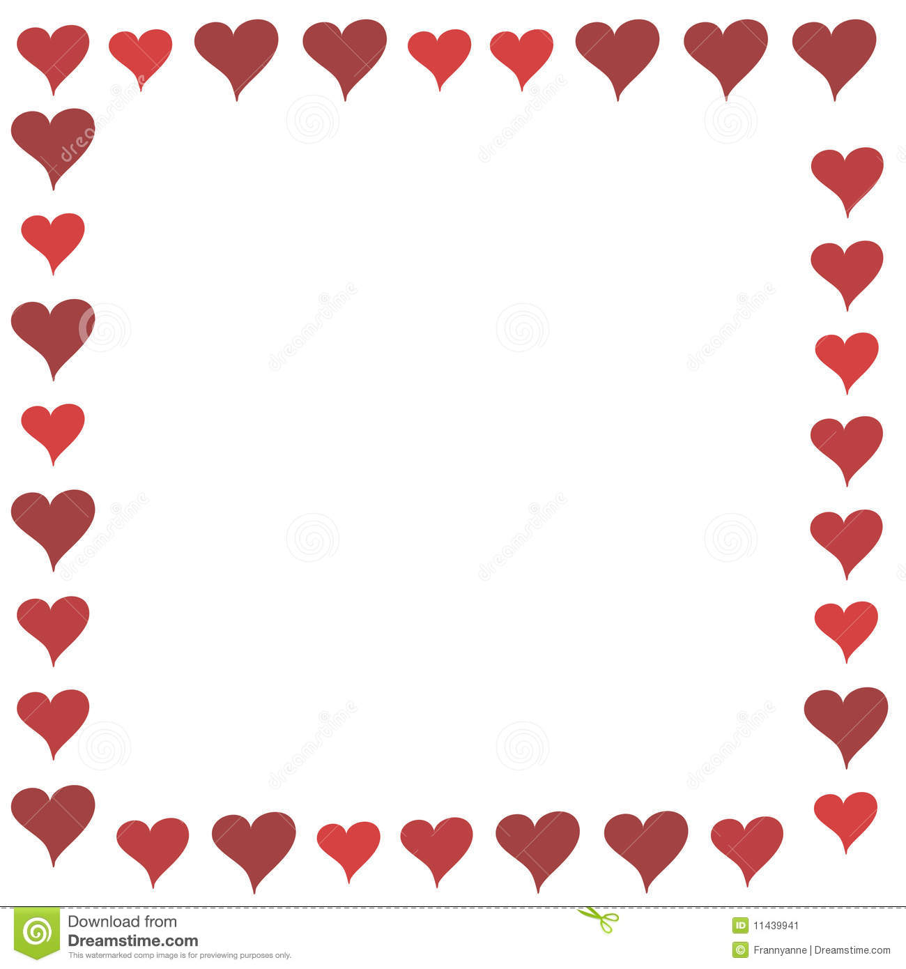 Illustrated full-frame border of cartoonish red hearts in multiple ...