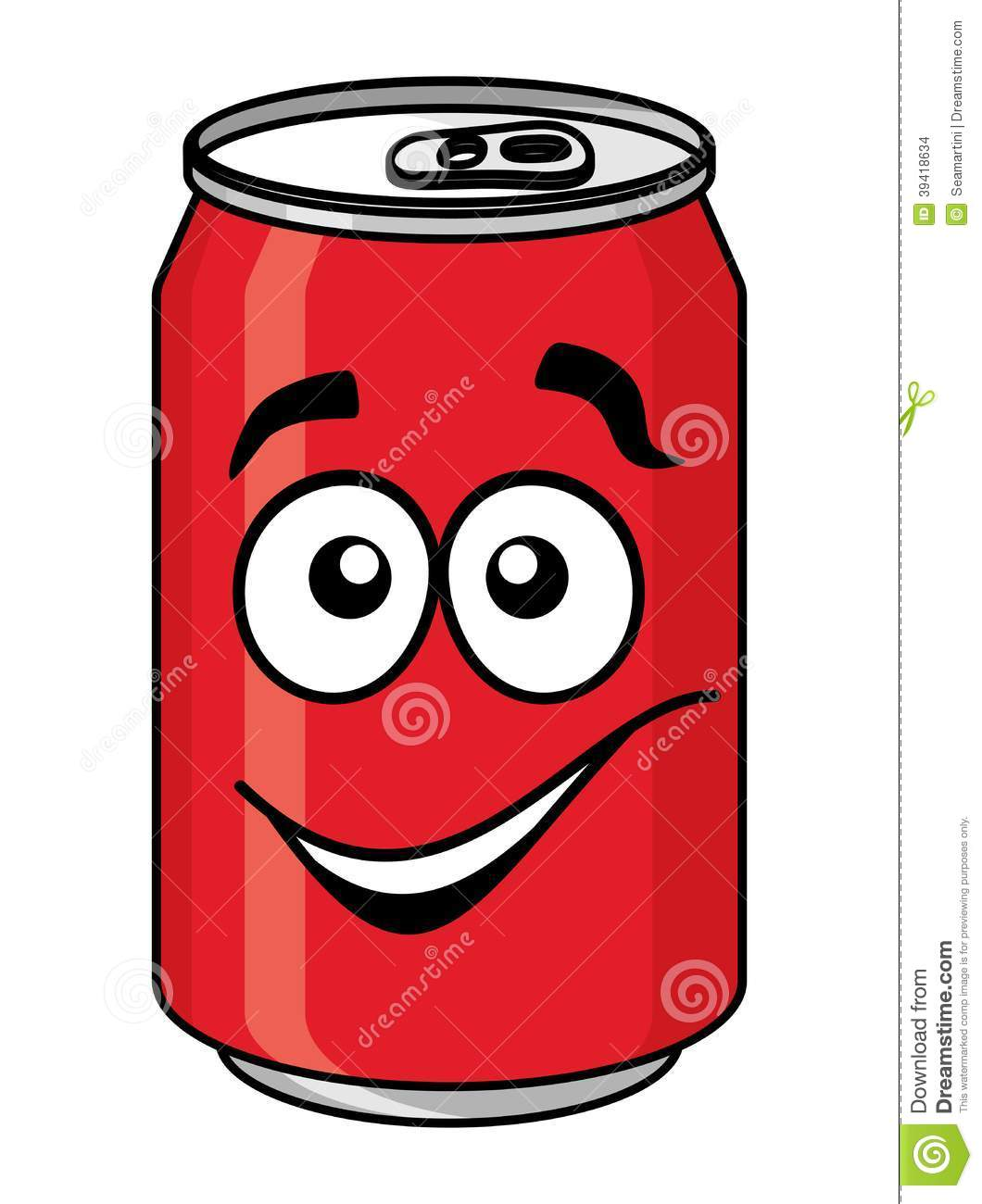 Red cartoon soda or soft drink can with a smiling face isolated on ...