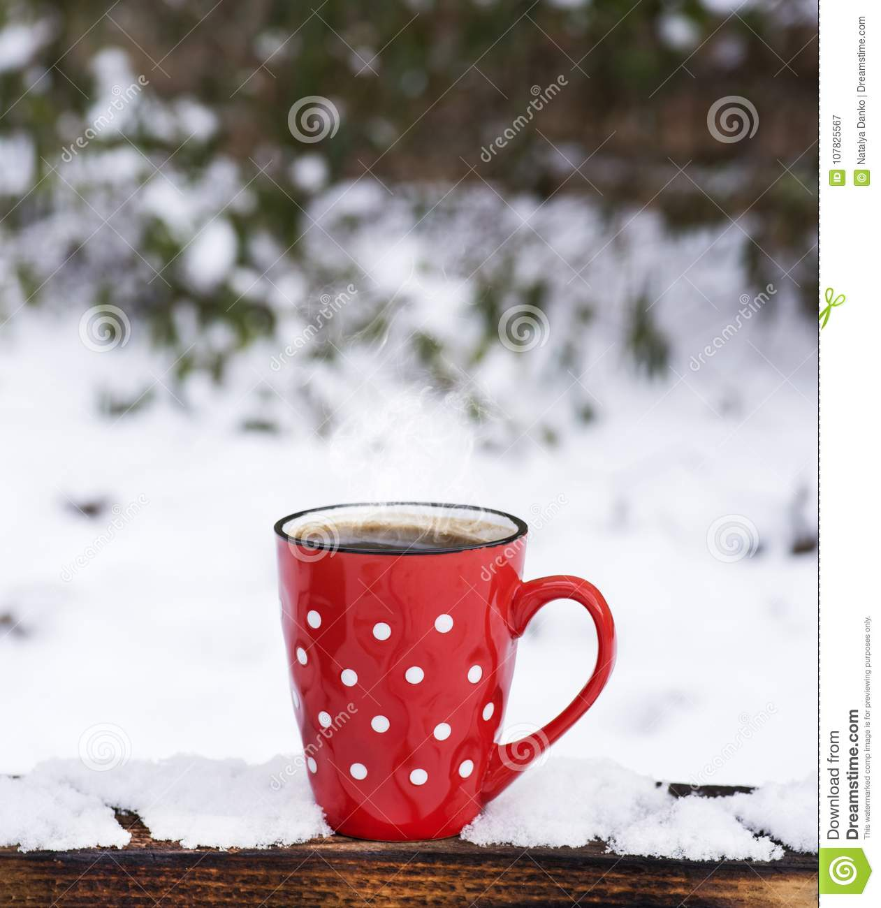 Red Ceramic Mug In A White Polka Dots With Coffee Stock Image ...