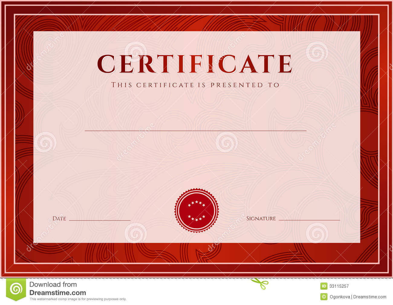Red Certificate, Diploma Template. Award Pattern  First Aid Certificate Template