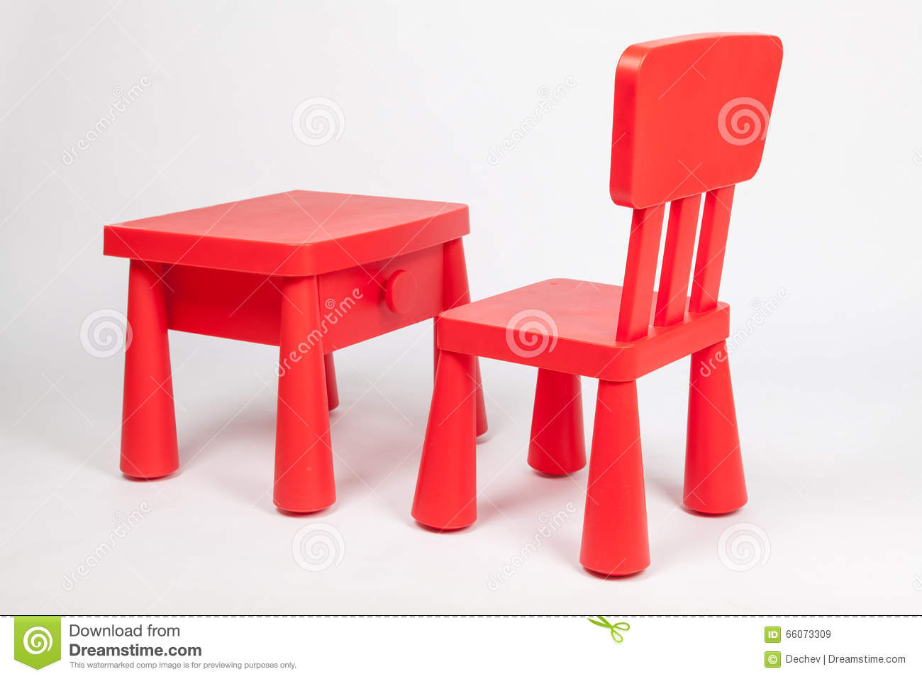 preschool chair. Red Chair And Table For Children In Kindergarten Preschool Classroom O