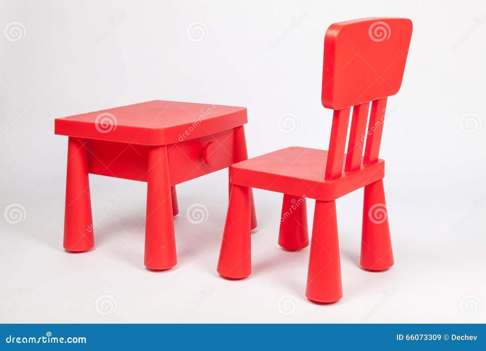 Kindergarten classroom table - Red Chair And Red Table For Children In Kindergarten Preschool Classroom Stock Photo