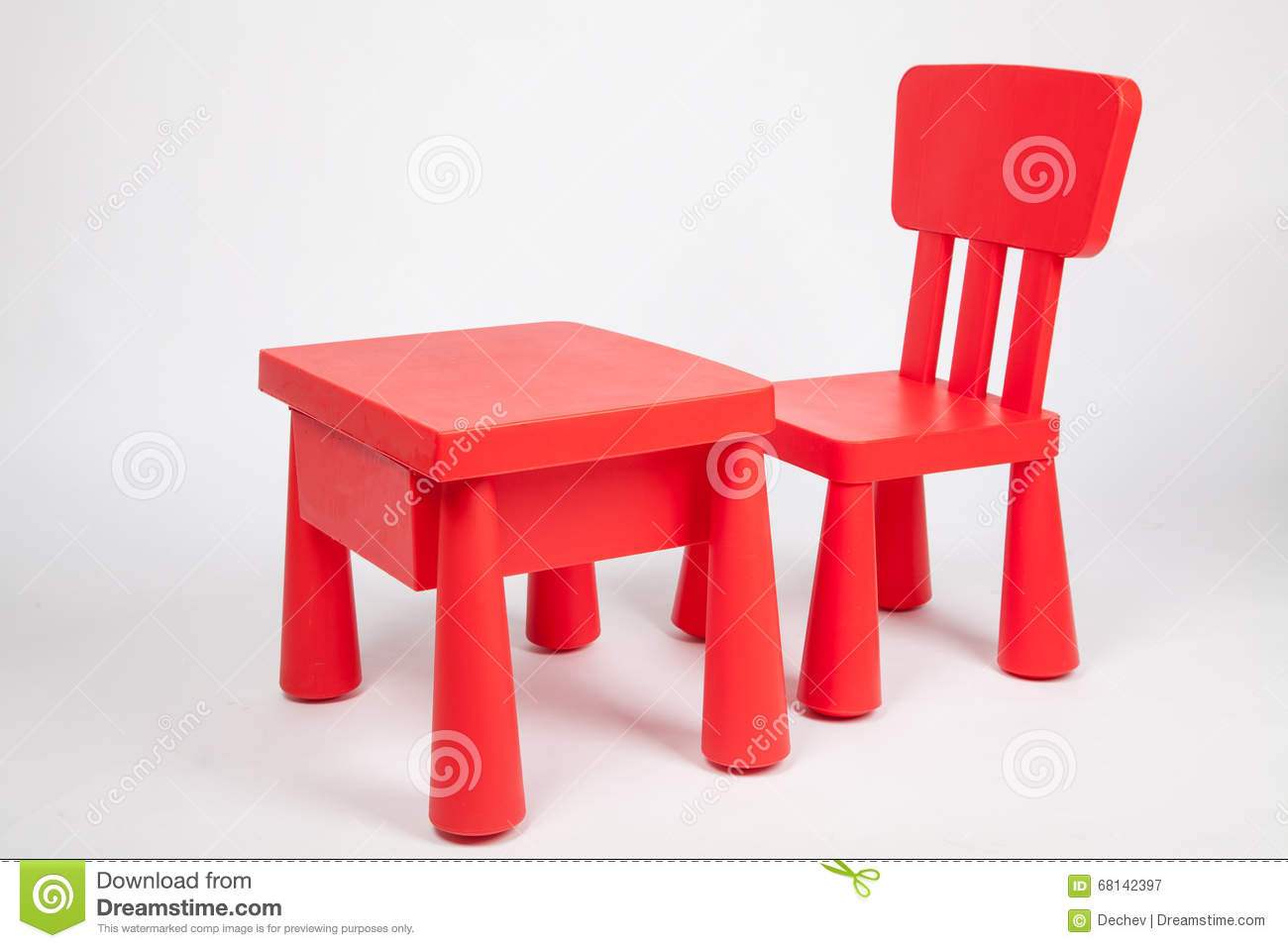 Red chair photography - Red Chair And Red Table For Children In Kindergarten Preschool Classroom Royalty Free Stock Photography