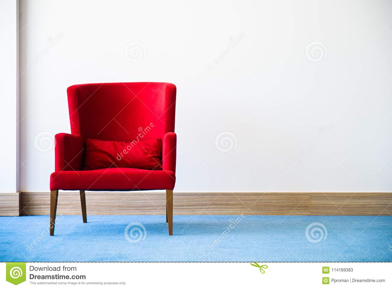 Cool Red Chair In White Interior Stock Image Image Of Interior Pdpeps Interior Chair Design Pdpepsorg