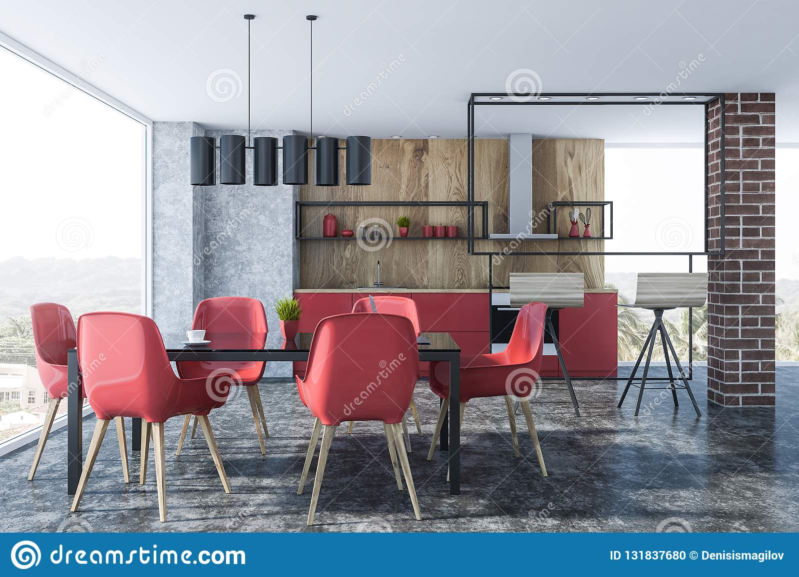 Red Chairs Dining Room Interior Stock Illustration Illustration Of Furniture Chair 131837680