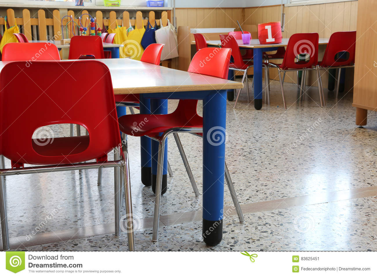 Phenomenal Red Chairs With Small Benches Inside A Kindergarten For Inzonedesignstudio Interior Chair Design Inzonedesignstudiocom