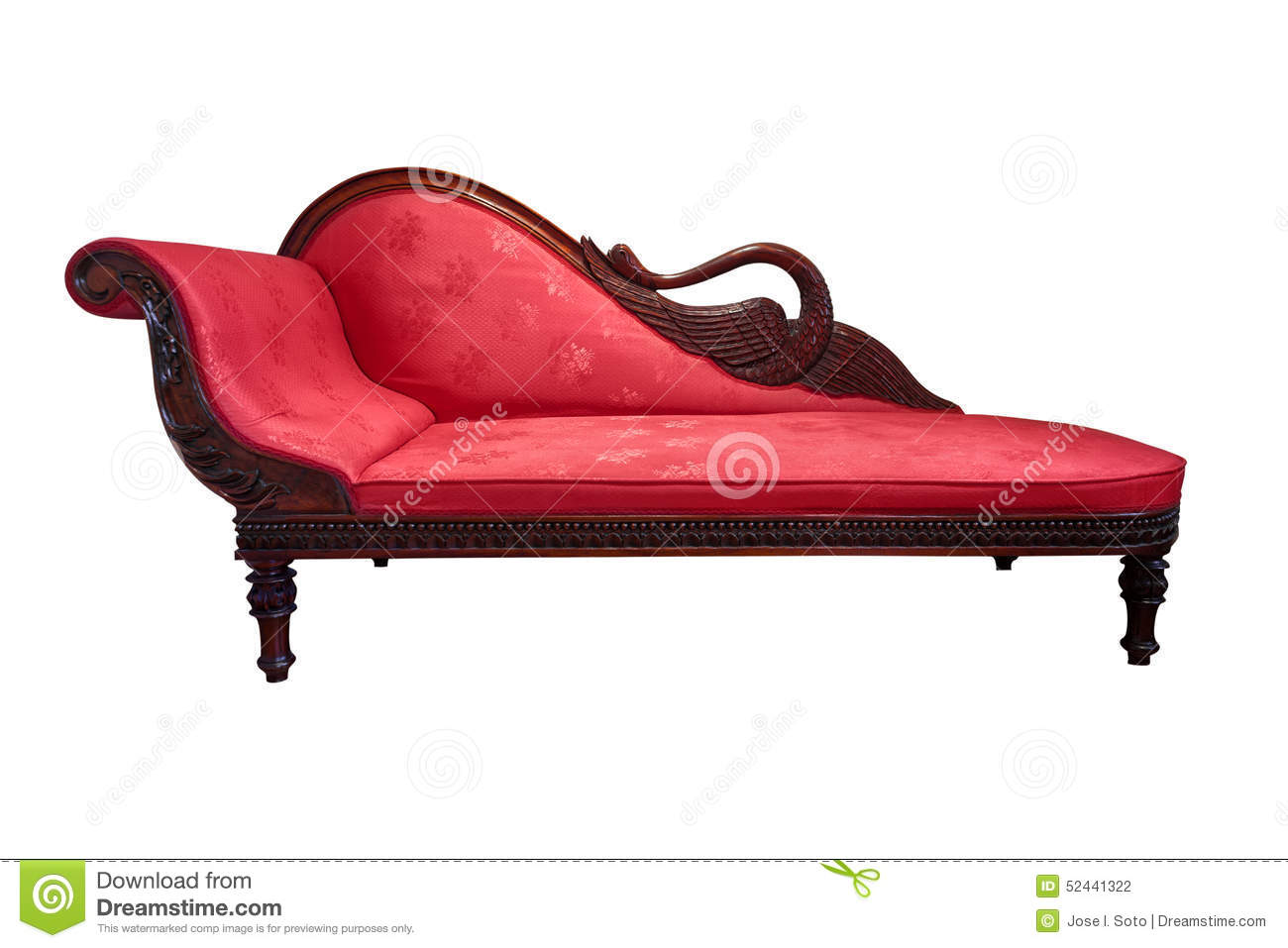 Red chaise longue isolated on white stock photo image for Antique chaise lounge prices