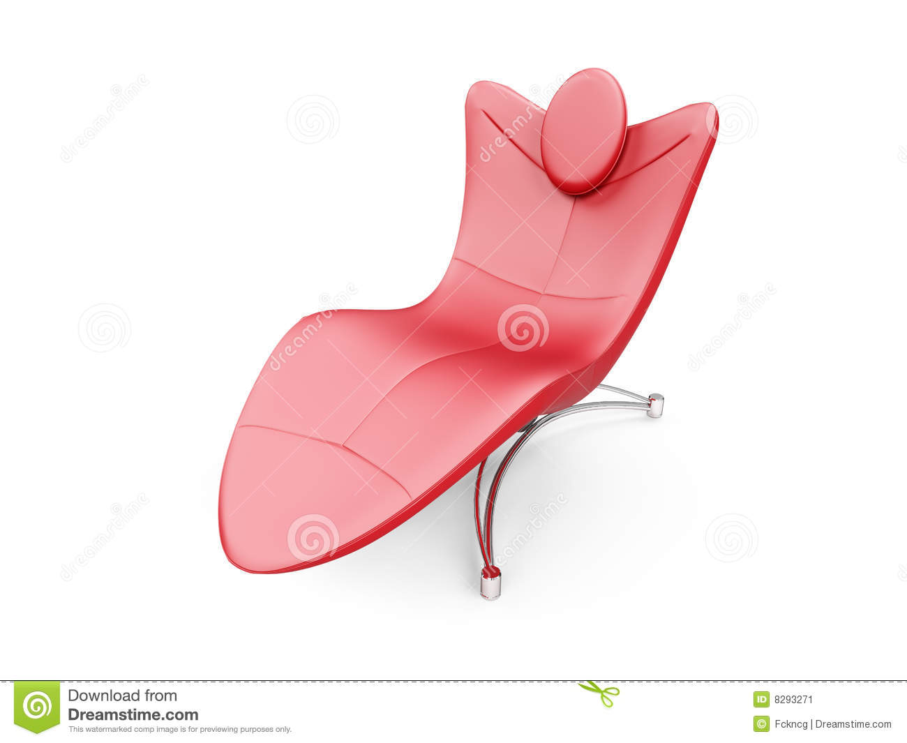 Red Chaise Lounge Over White Stock Illustration Illustration Of