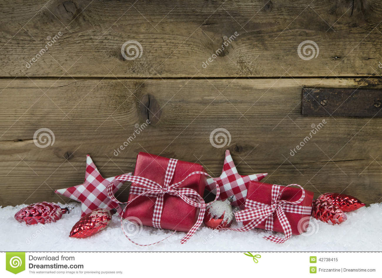 Country Christmas Background.Red Checked Christmas Presents On Wooden Country Style