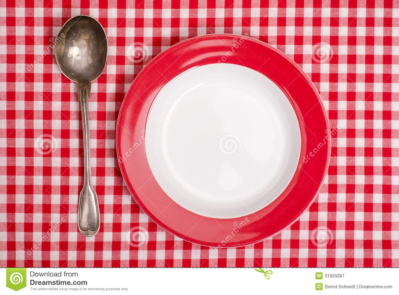 Astonishing Red Checked Table Cloth With Plate And Spoon Stock Image Download Free Architecture Designs Grimeyleaguecom
