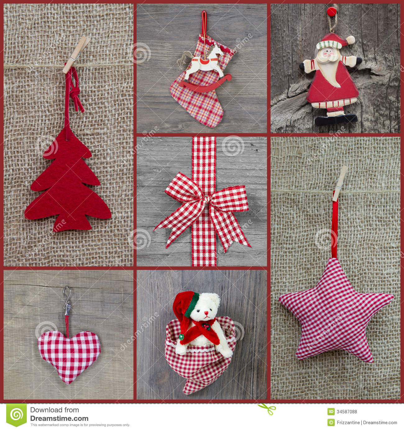 Red checkered christmas decoration in country style with for Cuadros de navidad