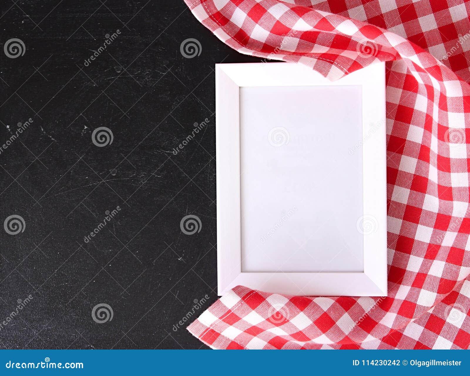 food recipe template checkered cloth on blackboard stock photo