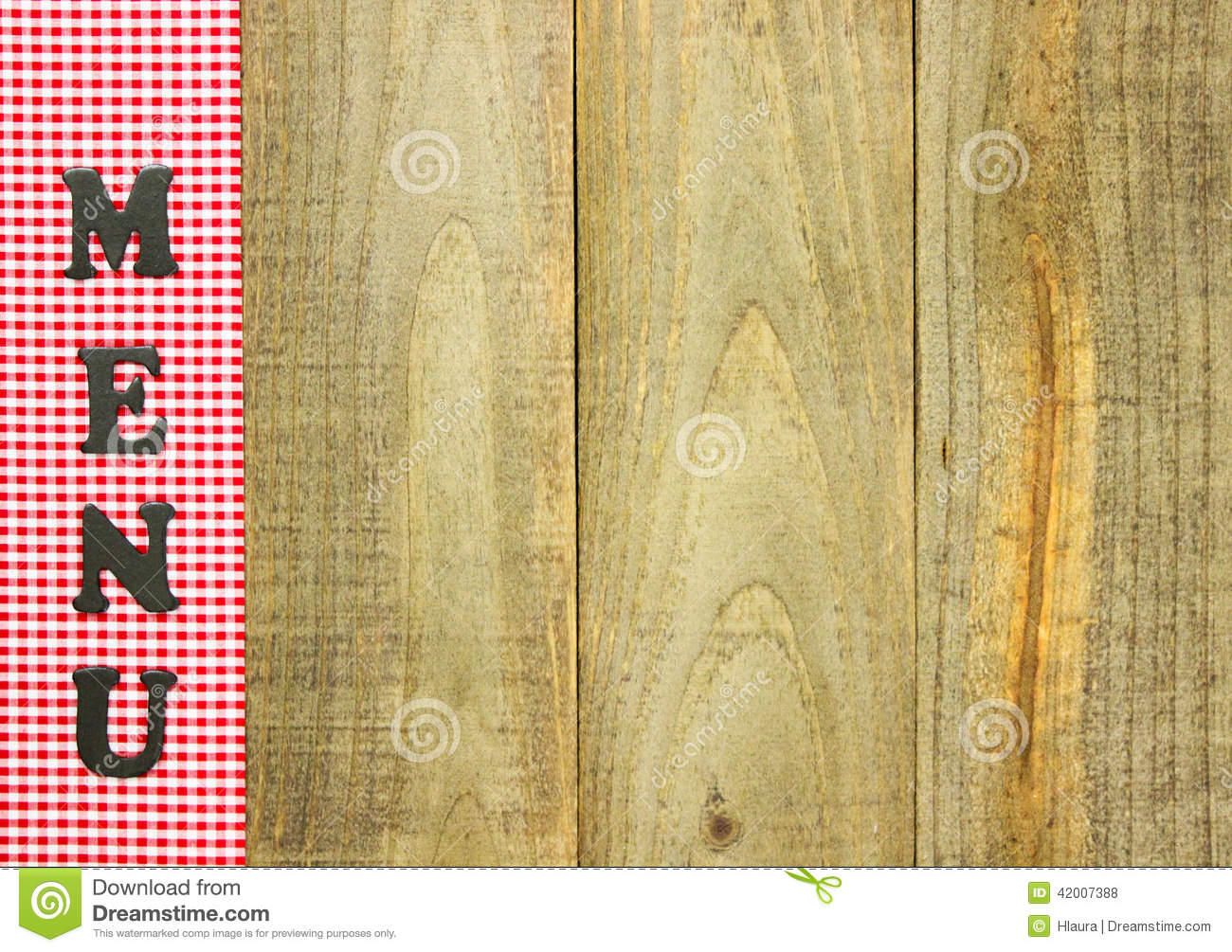 Red Checkered Menu Border On Rustic Wood Sign Stock Photo