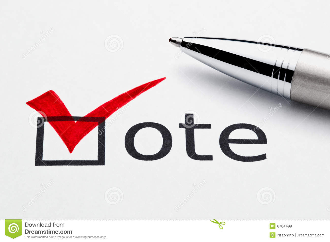No Credit Check Credit Cards >> Red Checkmark On Vote Checkbox, Pen On Ballot Royalty Free Stock Photos - Image: 6704498