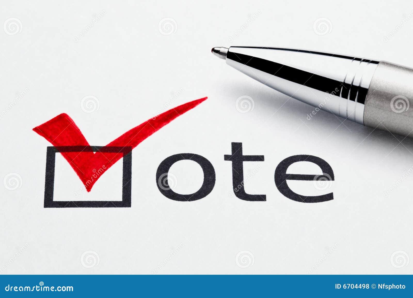 Red checkmark on vote checkbox, pen on ballot