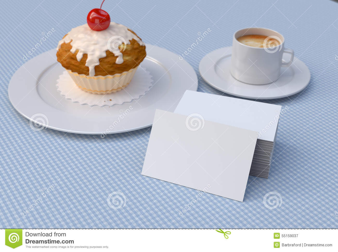Red cherry cupcake with white blank business cards mockup stock royalty free stock photo reheart Images
