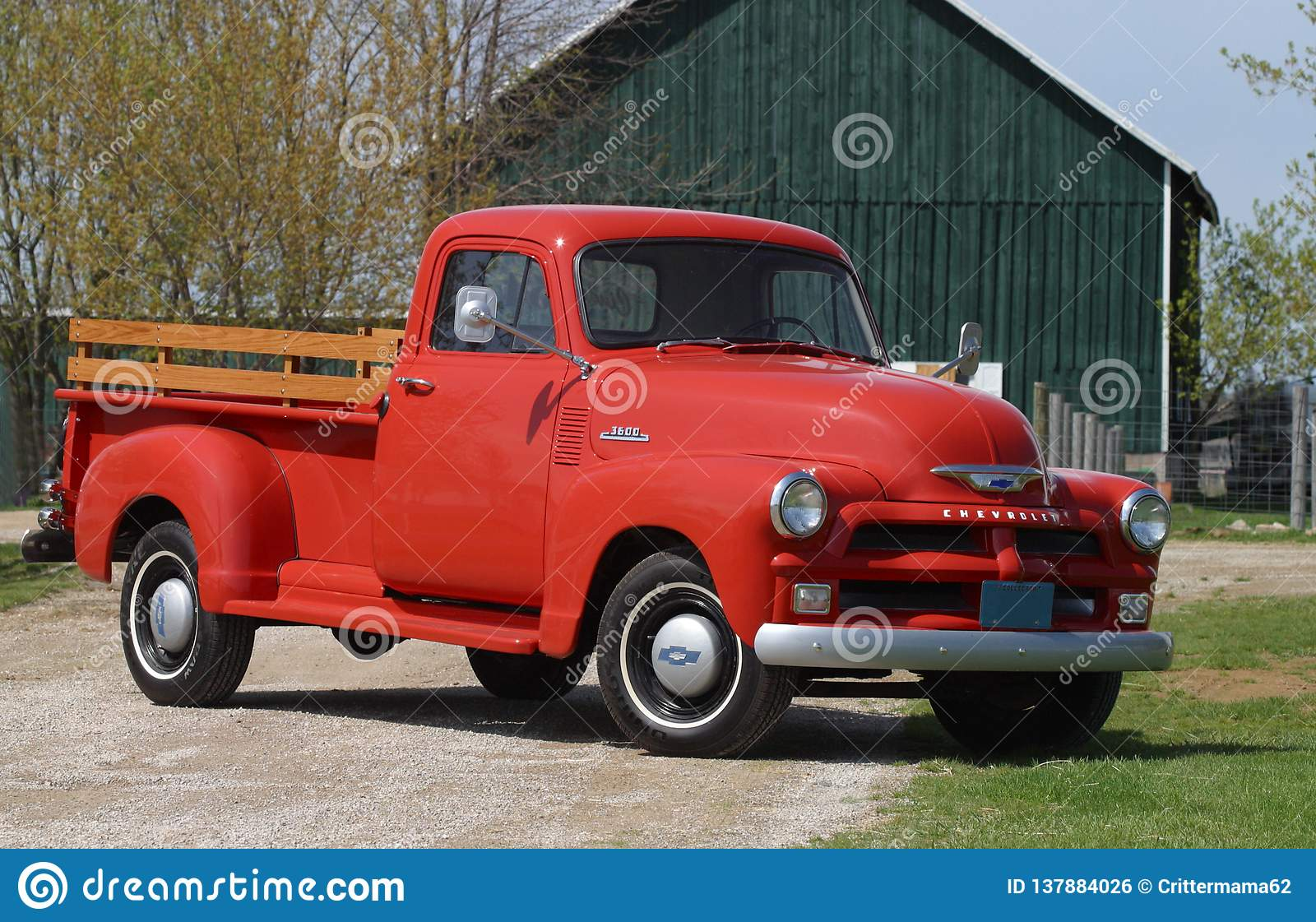 1957 Red Chevrolet Old Pick Up Truck Editorial Photo Image Of Wood White 137884026