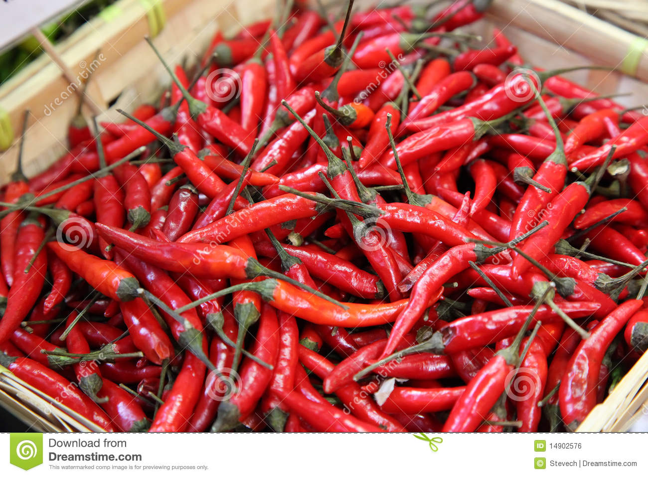 Red chili peppers at a food market