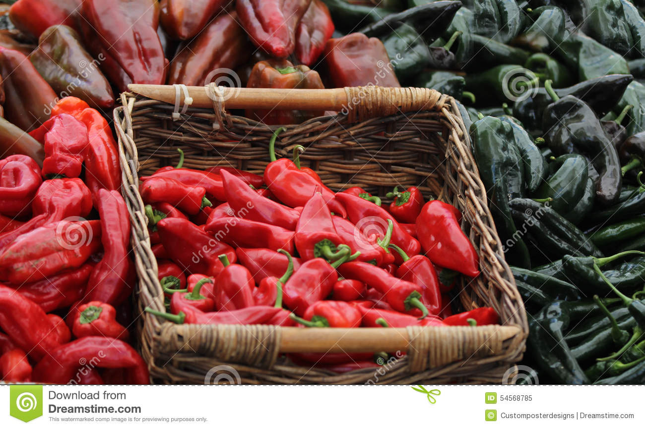 Download Red chili peppers. stock image. Image of fresh, green - 54568785