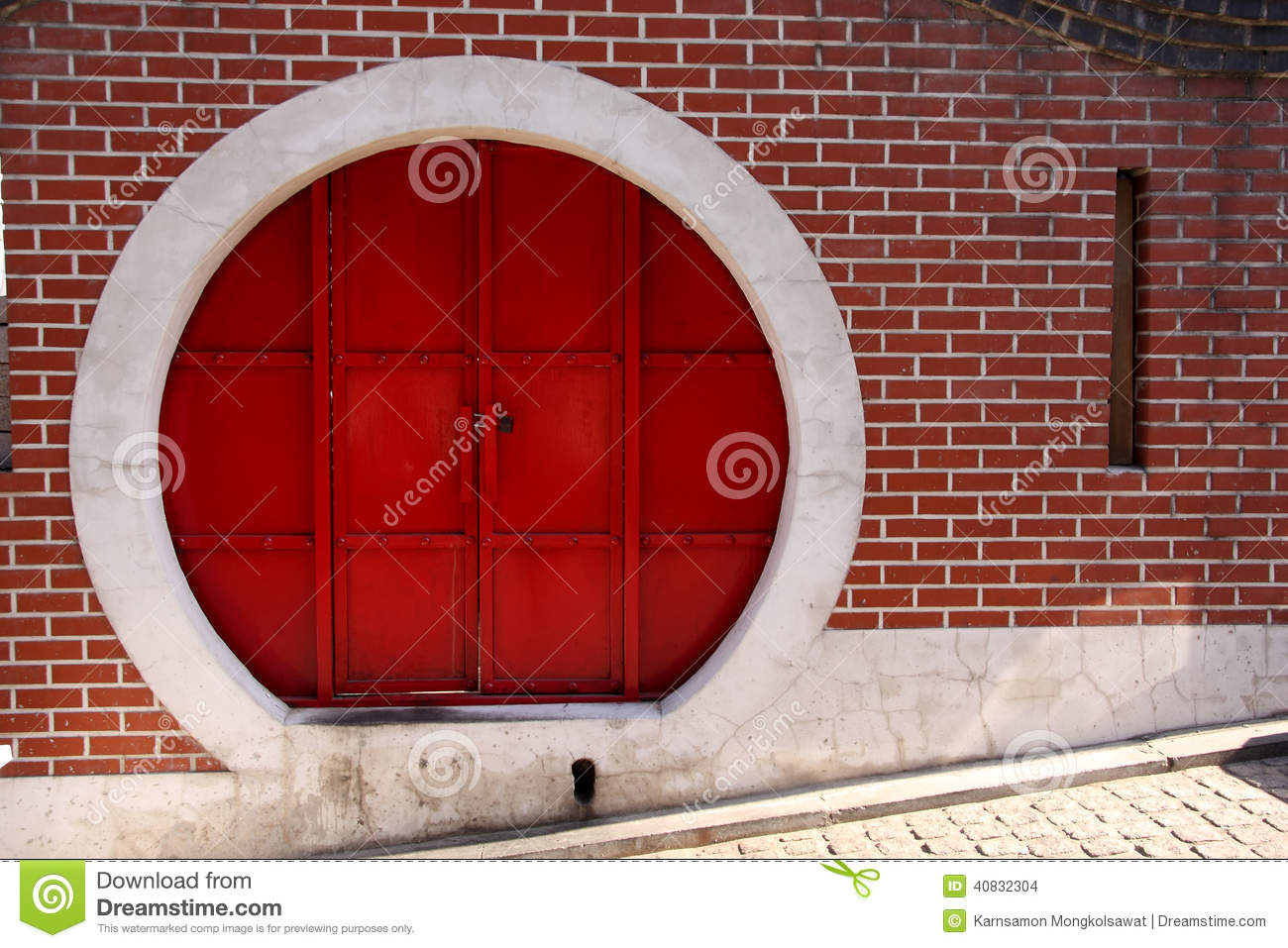 Red Chinese Circle Door Stock Photo Image 40832304