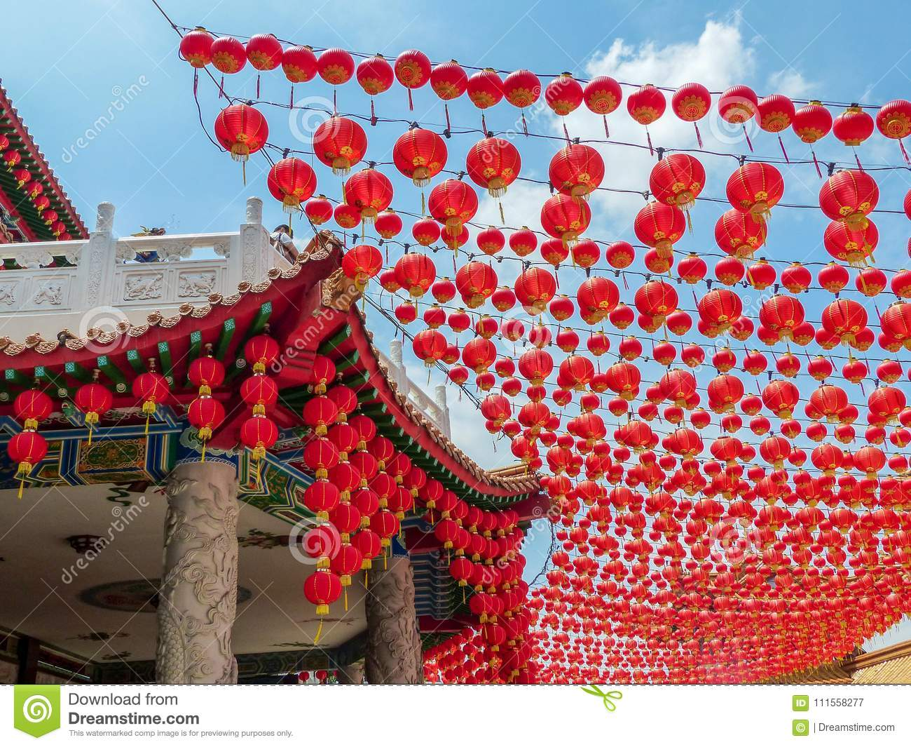 Red Chinese Lantern Decorations For Chinese New Year At A Chinese