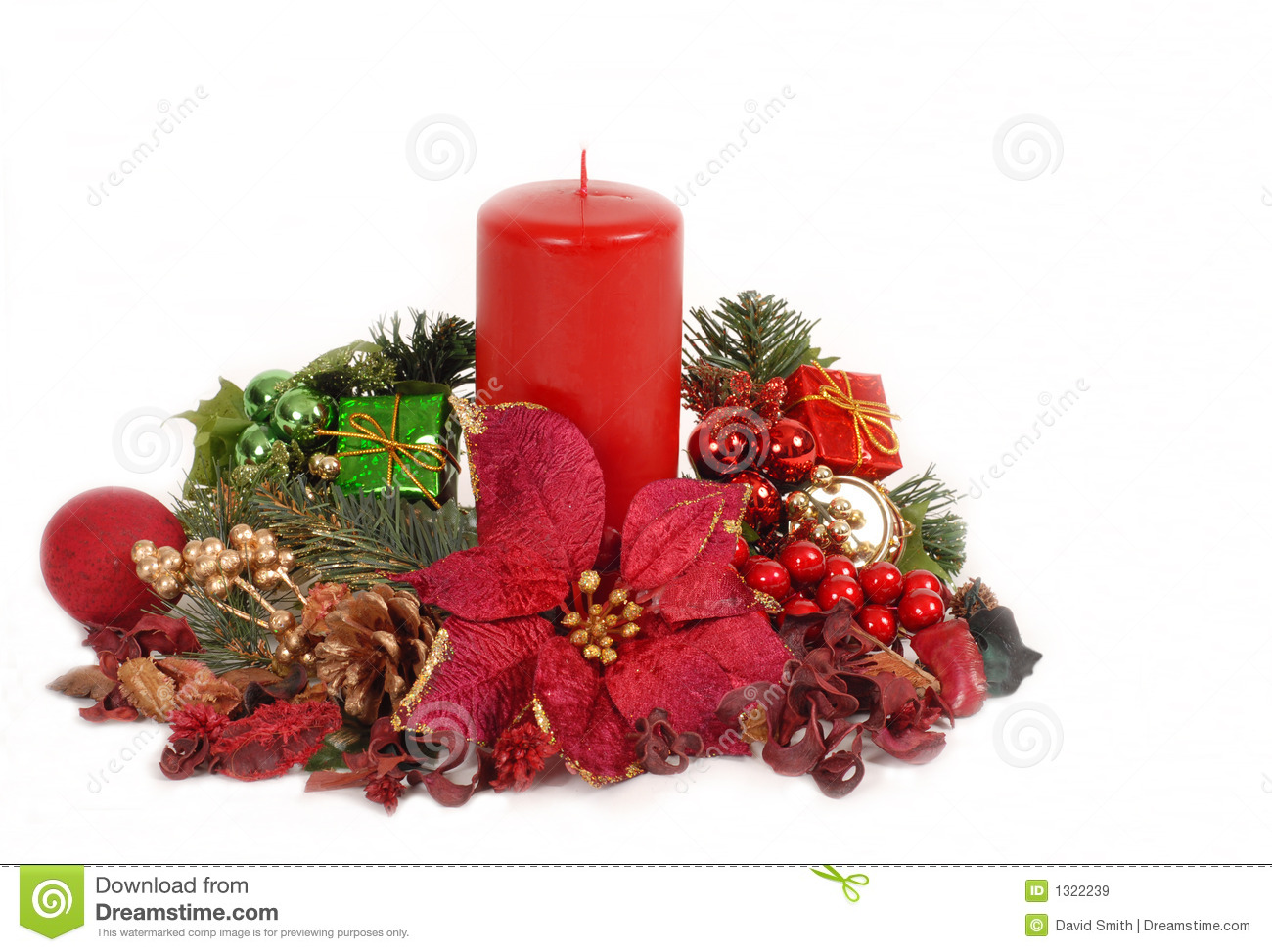 Red Christamas candle in poinsettia setting