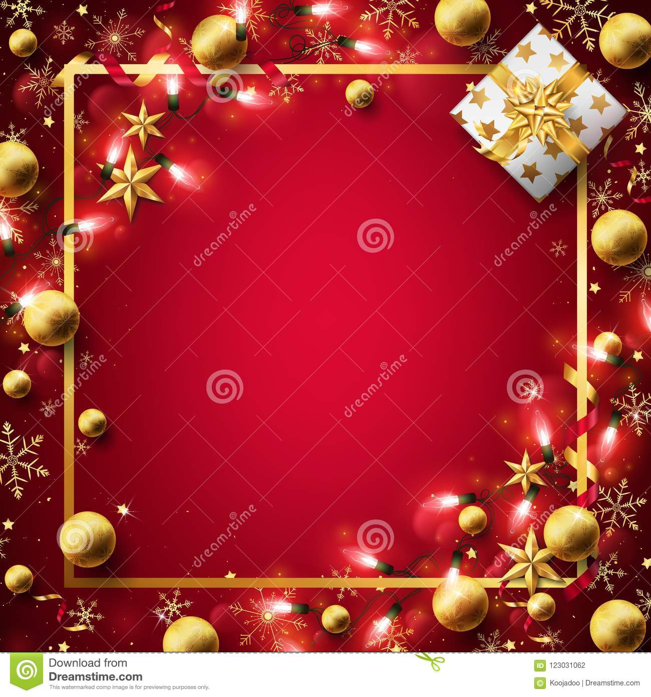 Free Christmas Background.Red Christmas Background Decorated In Gold Stock Vector