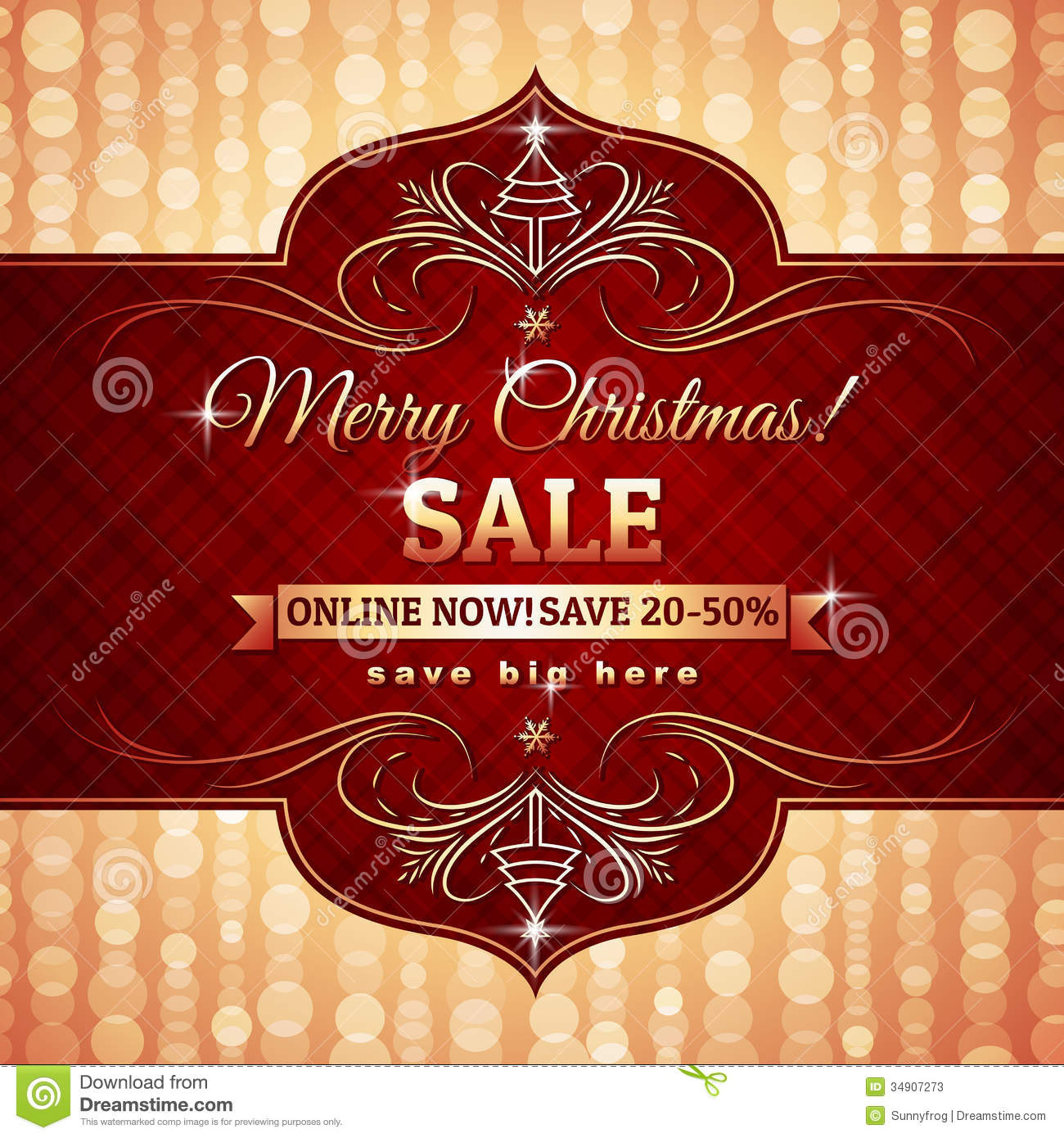 536affee10e6 Red Christmas Background And Label With Sale Offer Stock Vector ...
