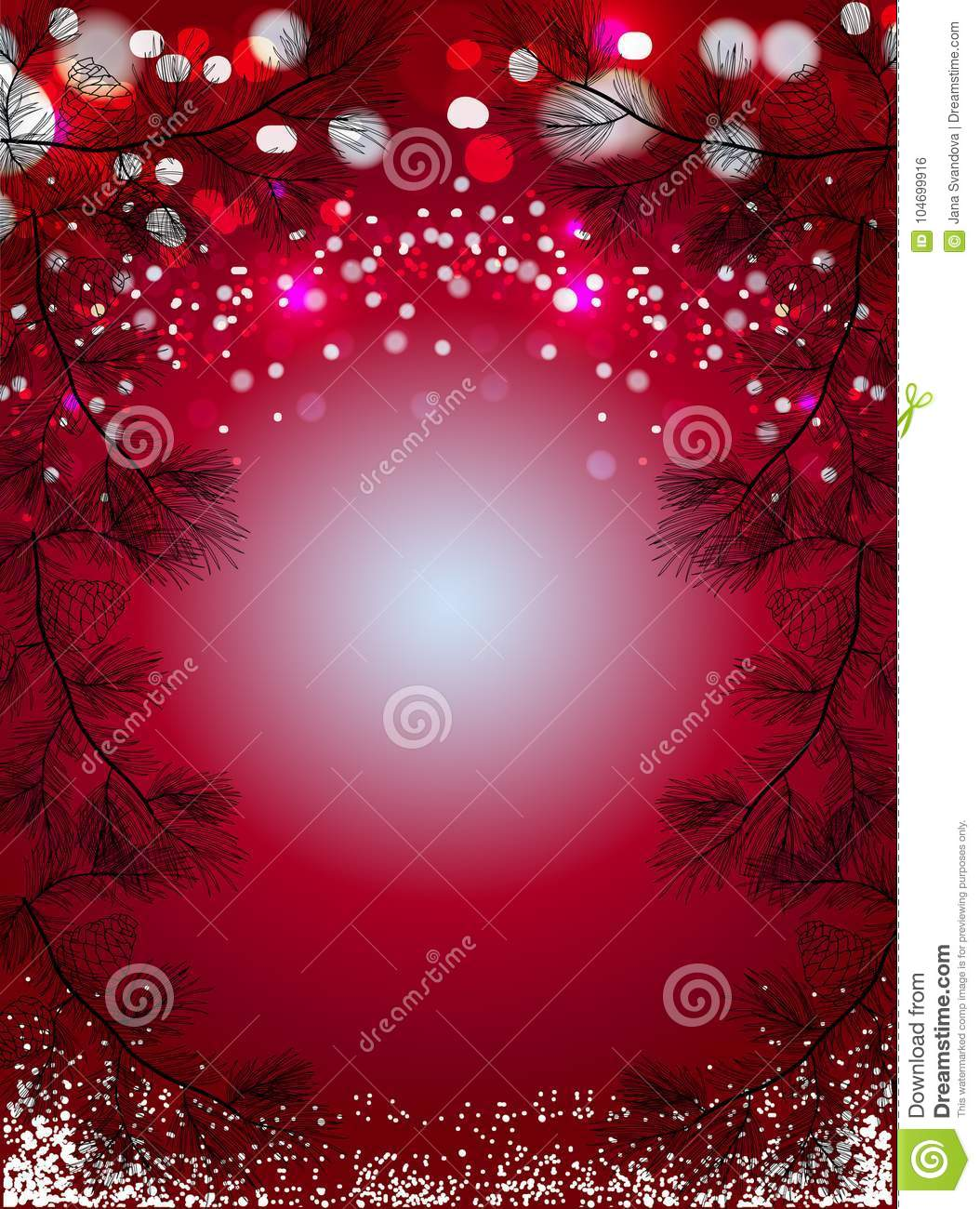 red christmas background snow black pine spruces sparkling winter holidays vector wallpaper red christmas background 104699916