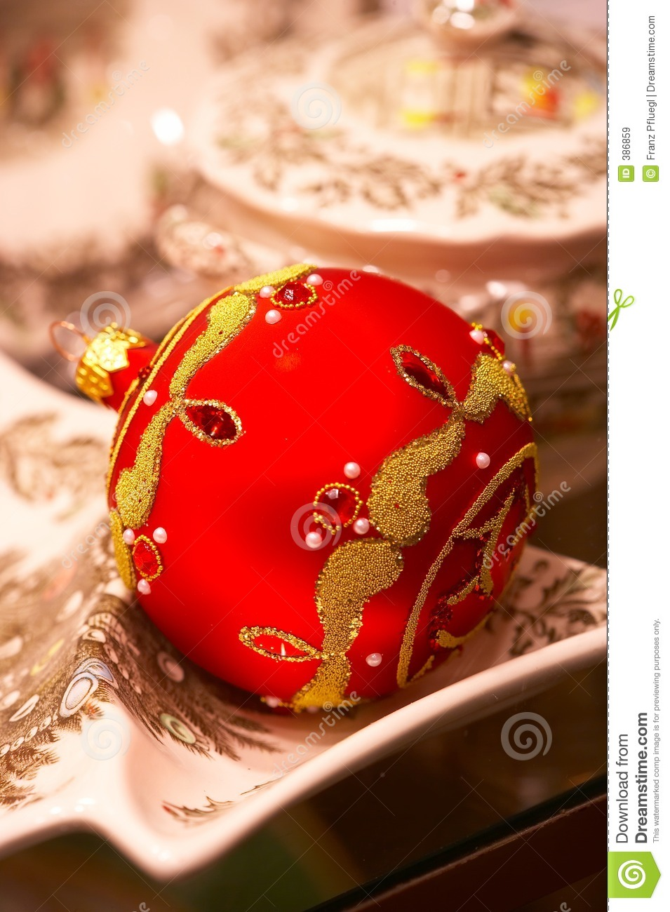 Red Christmas Ball With Ornaments Christbaumschmuck Stock Image