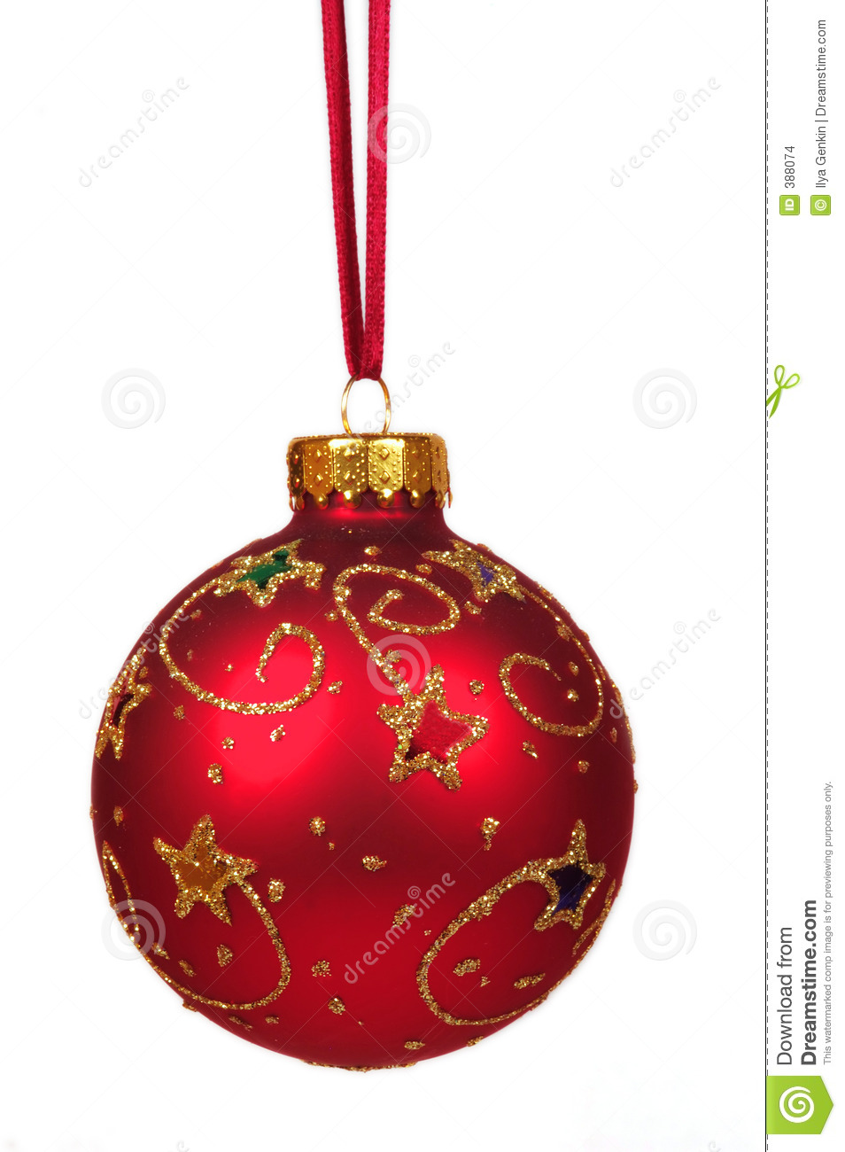Red Christmas Ball On A Red Ribbon Stock Photo Image 388074