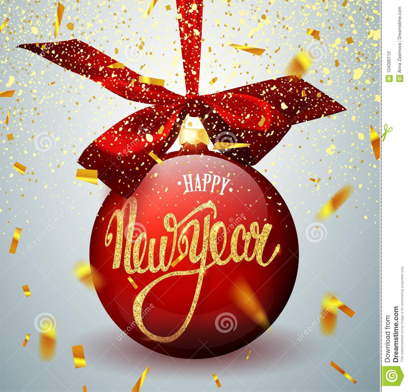 Red Christmas ball with ribbon and a bow, on winter background with snow and snowflakes. Merry Christmas and Happy New Year 2018.