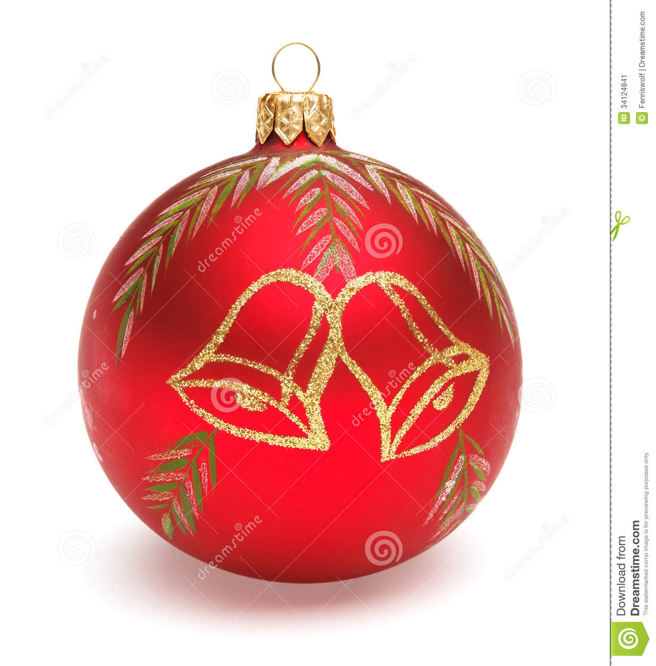 Red christmas ball stock image of light branch